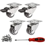 4-Pack 71Lbs//32Kg Total Load Capacity 360 Degrees Top Plate Swivel 4.2mm Bolt Hole Plain Bearing Gray Rubber Wheels for Furniture for M4 Screw Dr.Luck 1 Swivel TPR Rubber Caster