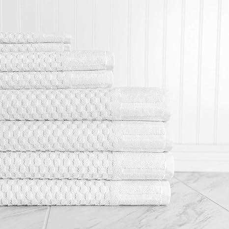 Grande Extragrande blanco perla diseño de cuadros toalla de baño (8 piezas, lujo 5