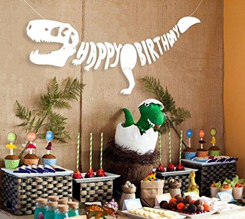 Amazon Geefuun Dinosaur Dino Happy Birthday Banner Fossil Jurassic T REX Garland Party Decoration Supplies Toys Games