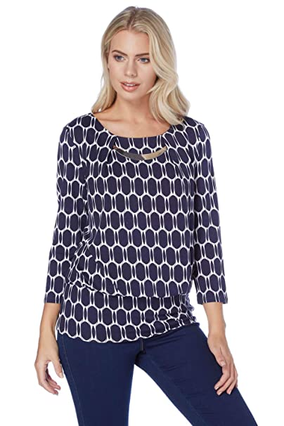 9a55f3f95cb25e Roman Originals Women Spot Print 3 4 Sleeves Half Moon Top - Ladies Work  Office 3 4 Sleeve Daytime Evening Going Out Tops - Blue  Amazon.co.uk   Clothing