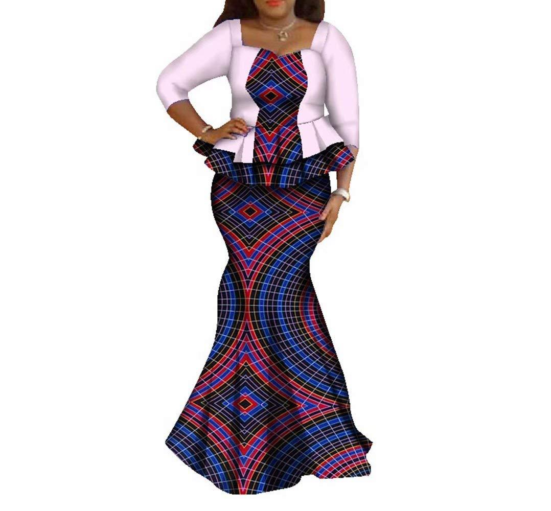Womens Elegant African Skirts Set 2 Piece Ankara Peplum Tops & Mermaid Skirt