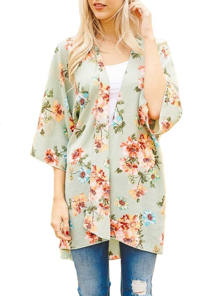 PINKMILLY Women Floral Print Kimono Cover up Sheer Chiffon Blouse Loose Long Cardigan Sage Medium