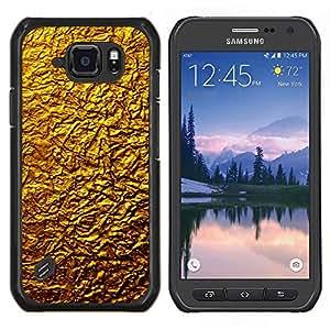 Caucho caso de Shell duro de la cubierta de accesorios de protección BY RAYDREAMMM - Samsung Galaxy S6Active Active G890A - Oro Diseño Architecture Pared Material de Arte