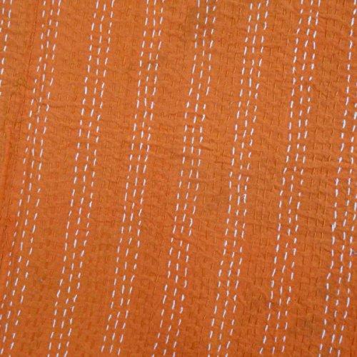 Charming Amazon.com: Floral Print Decorative Kantha Stitch Quilt Pure Cotton  Reversible Bedspread Orange Gudri Queen Size Bedspread: Home U0026 Kitchen