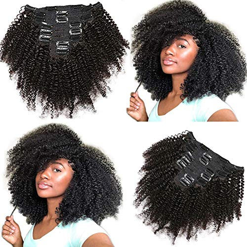10a Brazilian 4B 4C Afro Kinky Curly Clip Ins Human Hair Extensions For Black Women,Natural Color Curly Clip Ins For African Americans Triple Weft 8pcs/set,120gram(16 Inch) from Dreams Link Hair