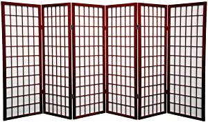 Oriental Furniture 4 ft. Tall Window Pane Shoji Screen - Rosewood - 6 Panels
