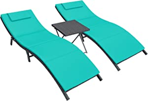 Homall 3 Pieces Patio Chaise Lounge Chair Sets Outdoor Beach Pool PE Rattan Reclining Chair with Folding Table and Cushion (Blue)