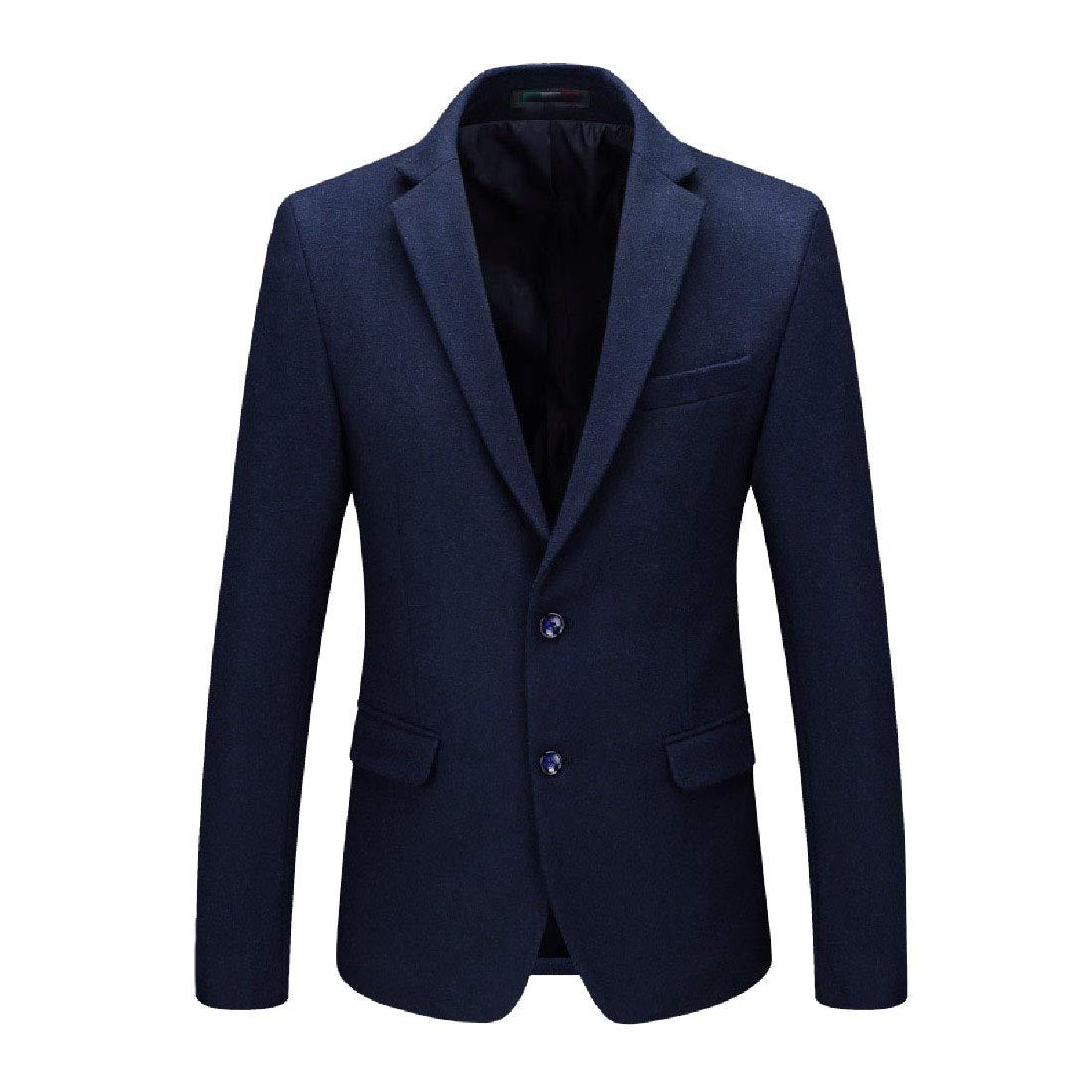 Comaba Men Turn-Down Collar Fit Woolen 2 Button Solid Blazer Jacket