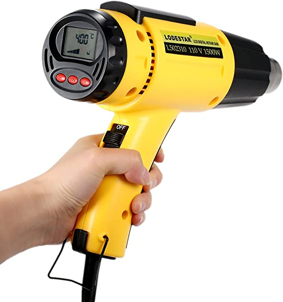 KKmoon 1500W AC110V Electric Heat Gun with Nozzle LODESTAR LCD Digital Temperature-controlled Hot Air Gun
