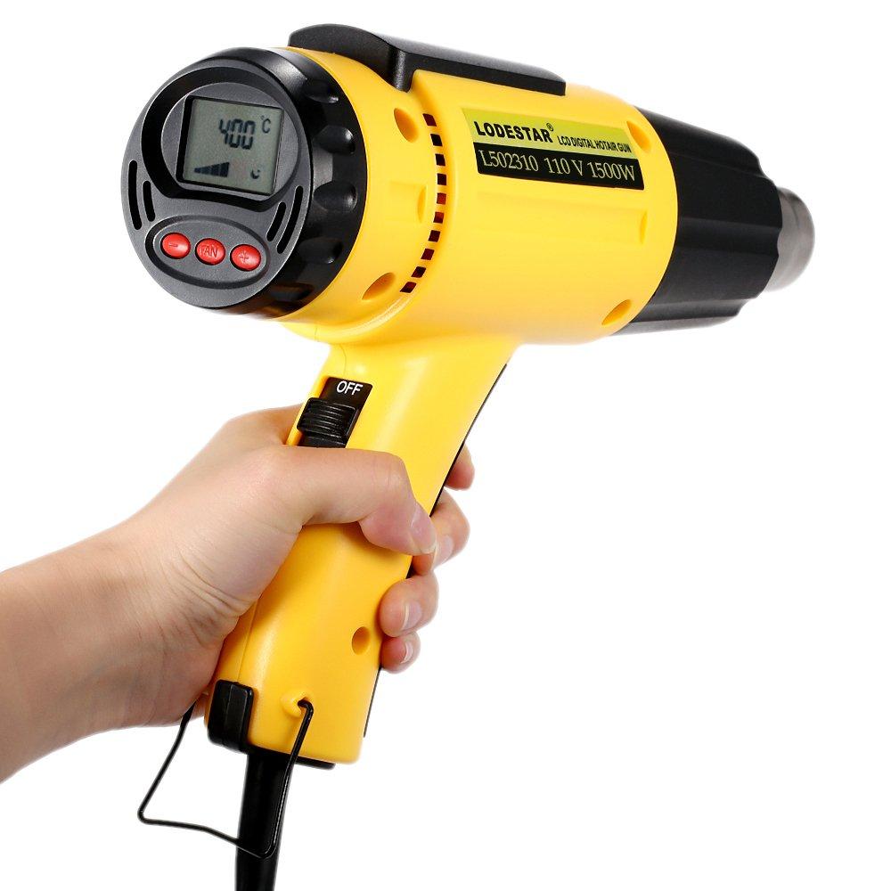 KKmoon LODESTAR LCD Digital Temperature-controlled Electric Hot Air Gun Adjustable Heat Gun Tools Set with Nozzle 1500W AC110V