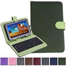"""HDE Diamond Stitch Univeral Hard Leather Folding Folio Case Cover with Micro USB Keyboard for 7"""" Tablet (Green)"""