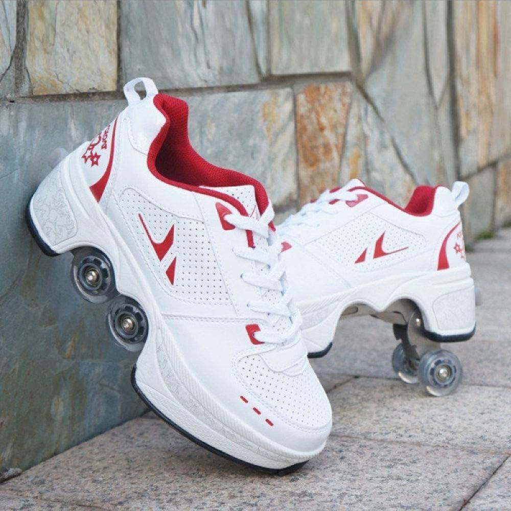 Patins A roulettes Reglables,Deform Wheels Skates Roller Shoes Casual Sneakers Walking Skates Hommes Femmes Runaway Patins /à Quatre Roues,A-31