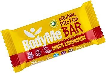 BodyMe Barra de Proteína Vegana Orgánica   Cruda Maca Canela   60g   Con 3 Proteínas Vegetales
