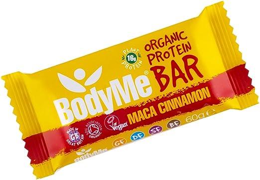 BodyMe Barra de Proteína Vegana Orgánica | Cruda Maca Canela | 60g | Con 3 Proteínas Vegetales