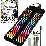Colored Pencils for Adults & Kids, 48 Watercolor Pencils Roll Canvas Artist Set, Best for Adult Coloring Books - FREE Coloring Book, Sharpener, Extender, Blending Brush, Eraser, Coloured Pencils