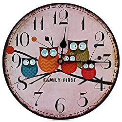 iDONO Modern Design Wooden Wall Clock Owl Vintage Rustic Shabby Chic Home Office Cafe Decoration Art Large Watch Horloge Murale