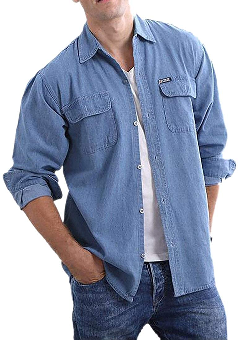 WSPLYSPJY Mens Casual Long Sleeve Two-Pocket Cotton Denim Button Front Shirts