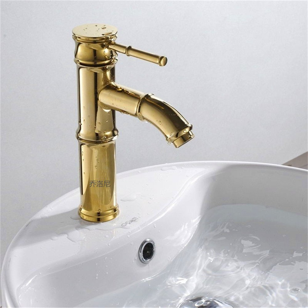 Low Profile SADASD Modern All Copper Bathroom sink faucet Decoration Building Materials gold-Plated Seated Single Hole Single Handle Hot and Cold Water Basin Mixer Taps With G1 2 Hose, High Section