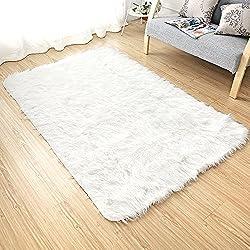 LEEVAN Rectangle Sheepskin Rug Supersoft Fluffy Area Rug Shaggy Silky Throw Rug Floor Mat Carpet Decoration