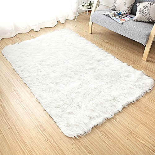 Sheepskin Area Rug Supersoft Fluffy Rectangle Sheepskin Rug Shaggy Rug Floor Mat Carpet Decoration( 4 ft x 6 ft White) (Skin Faux Sheep)