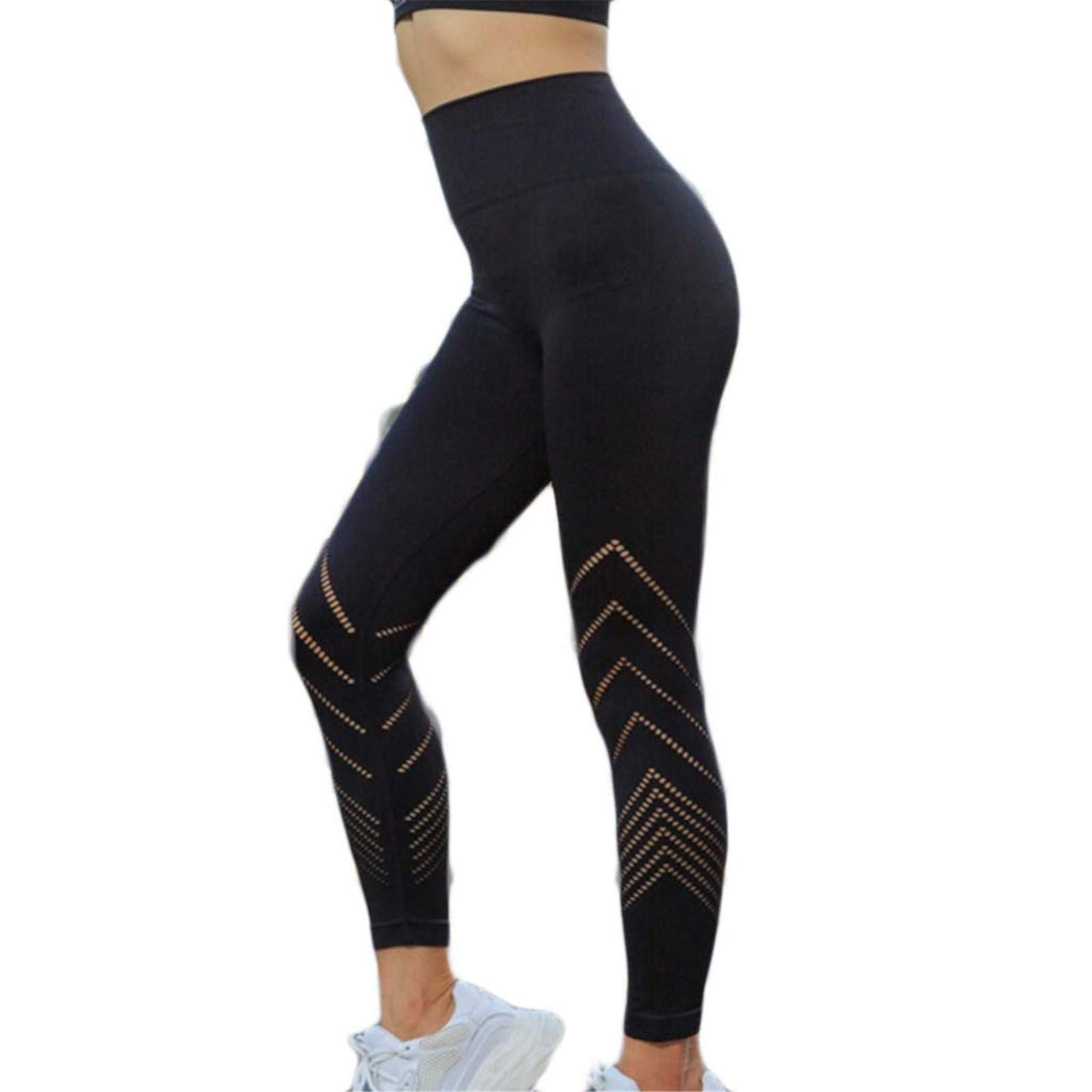 Thenxin Womens Compression Slimming Yoga Leggings High Wasit Tummy Control Quick-Dry Sport Tights(Black,L)