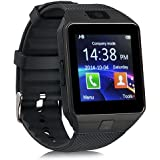 Bluetooth Smart Watch DZ09 - Sazooy Unlocked Touchscreen Smartwatch Wrist Watches Phone with Camera Pedometer Support Micro SIM Card for iPhone IOS Samsung LG Smartphones for Men Women Kids (Black)