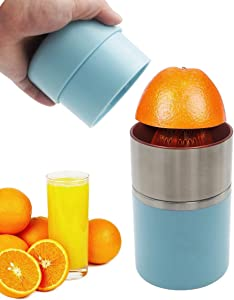 Hand Juicer Citrus Press Juicer with Container, Portable Manual Juicer for Oranges Lemons Blue