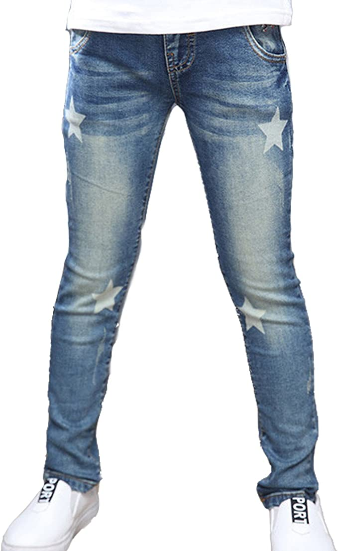 NABER Kids Girls Star Printed Elastic Waist Denim Trousers Slim Fit Jeans Age 5-9 Years