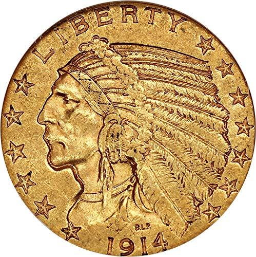 1914 S $5 Indian Gold Five Dollar AU55 NGC ()