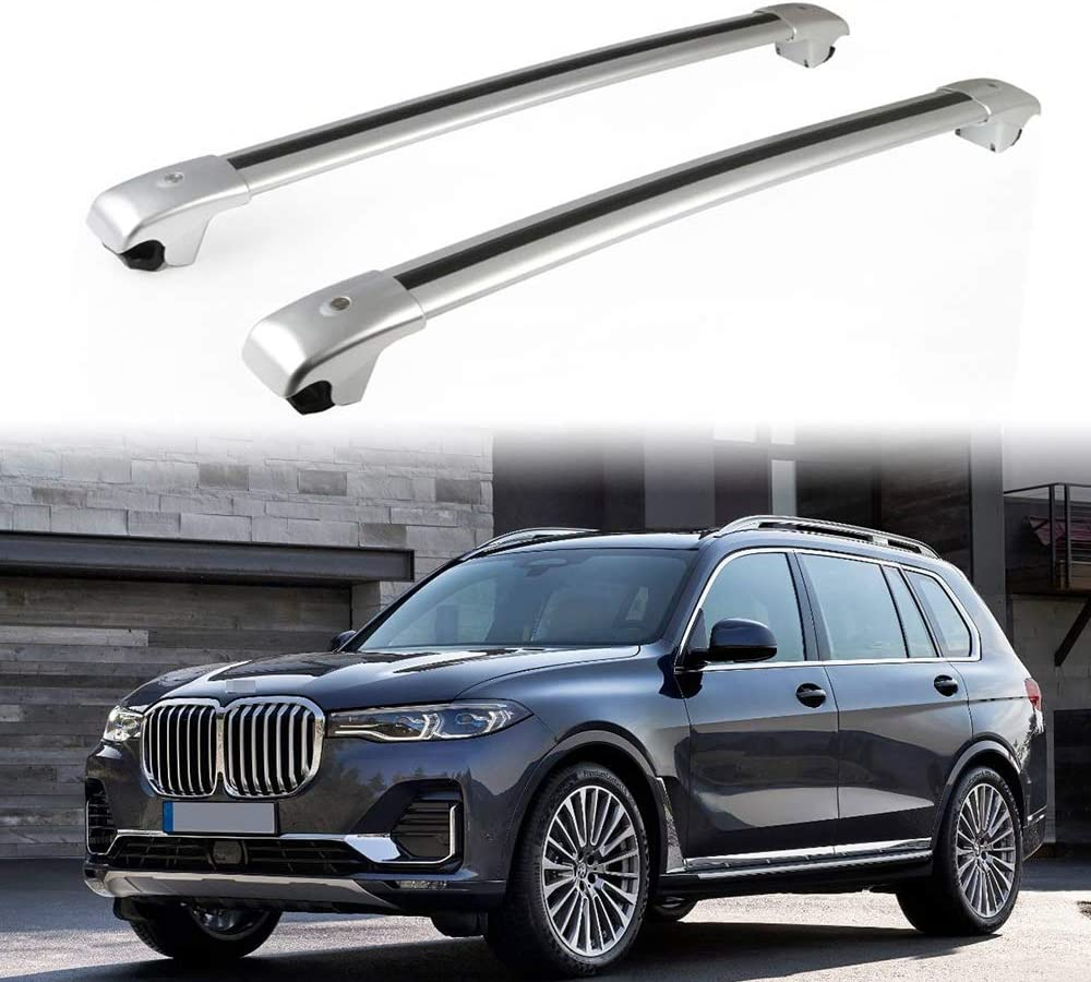 UDP 2Pcs Crossbars Cross Bars Roof Top Rail Luggage Cargo Holder Carrier Kits Silver Fits for BMW X7 G07 2018 2019 2020