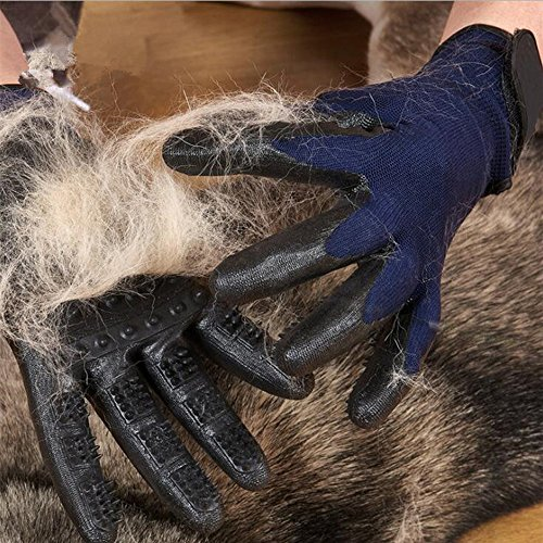 Pet Grooming Gloves - Left & Right - Hair Removal Mitt - Enhanced Five Finger Design ,Work as Deshedding, Bathing, Massaging Glove Brush, Effective for Long and Short Hair Dogs, Cats, Horse (1 Pair )
