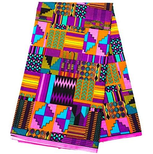 Exclusive Patchwork Kente Fabric 6 Yards Ankara Print Faux   Patchwork Kente Print Kente Cloth African Fabric KF347 (Purple and Pink)