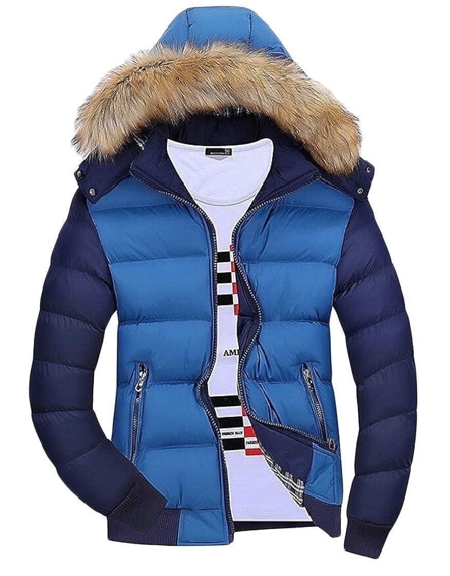 desolateness Mens Faux Fur Winter Coat Windbreaker Hooded Down Jacket Outerwear