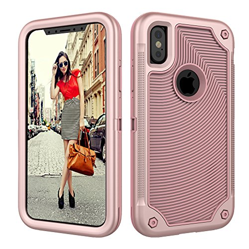 iPhone X Case,Dake 3-Layer Defender Heavy Duty Shockproof Full-body Protective Case for Apple iPhone X 2017 Release Rose Gold  iphone x cases 3 layers 61CSZJjMMwL