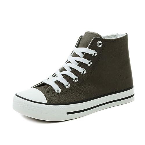 6eaa2b946adb Trendige Unisex Damen Kinder Herren Schnür Sneaker Low Top Schuhe Canvas  Textil Grün 36