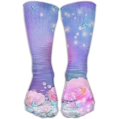 Kjaoi Crew Socks Blue Flowers Floral Sock Protect The Wrist For Cycling Moisture Control Elastic Socks 11.8inch