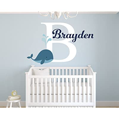 """Personalized Whale Name Wall Decal for Boys - Nursery Room Decor - Nursery Nautical Wall Decals - Nautical Wall Decor Vinyl (28""""W x 18""""H): Baby"""