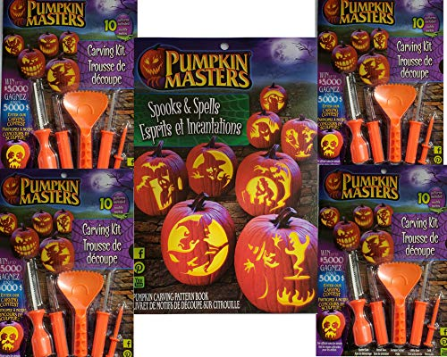 Pumpkin Masters Pumpkin Carving Kit Bundle of 5 Items Including 4 Carving Kits and 1 Spooks and Spells Pattern Book