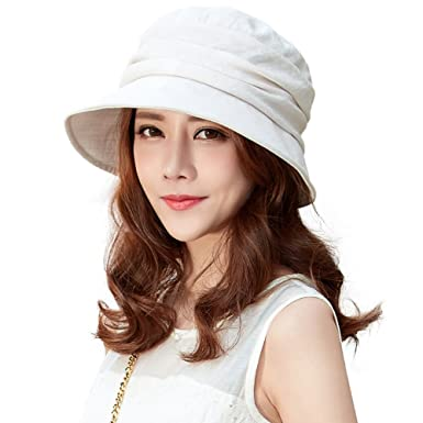 38e557f17ac Siggi Ladies Summer Bucket Boonie Packable Short Brim Sun Hat Fishing UV Cap  for Women Beige  Amazon.co.uk  Clothing