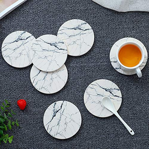 (Marble Pattern Absorbent Stone Coasters Set of 6 PCS Thirsty Ceramic Coasters for Drinks with Cork Backing White)