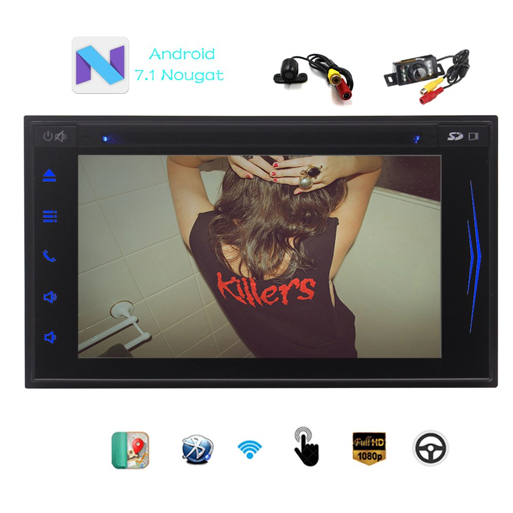 EinCar Android 7.1 Nougat Car Stereo Audoradio with 2GB RAM Built in GPS Navigation 6.2'' Touchscreen 2 Din GPS AM FM RDS Radio In Dash Head unit Support Bluetooth WiFi 1080P Video + Free Dual camera B075YHFVJW