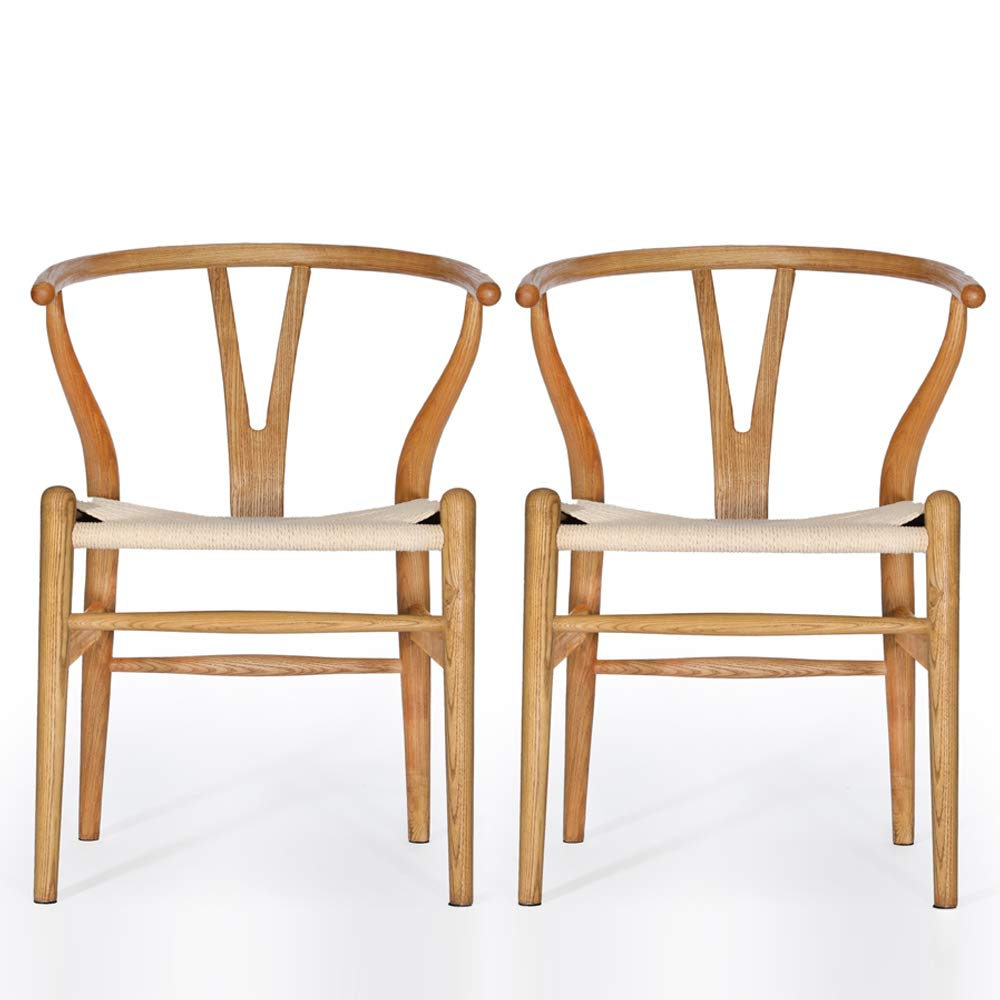 VODUR Wishbone Chair Natural Solid Wood Dining Chair/Hans Wegner Y Chair Rattan and Wood Accent Armrest Chair - Ash Wood Chair Set of 2 (Ash Wood - Chestnut Shell Color Painting)