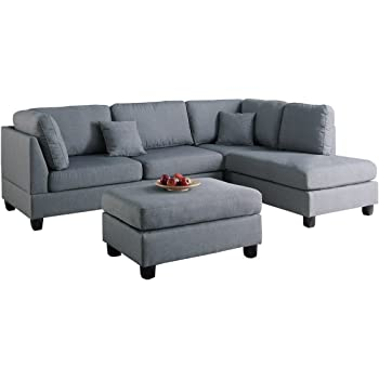 Poundex F7606 Bobkona Dervon Linen Like Left Or Right Hand Chaise Sectional  With Ottoman Set, Grey