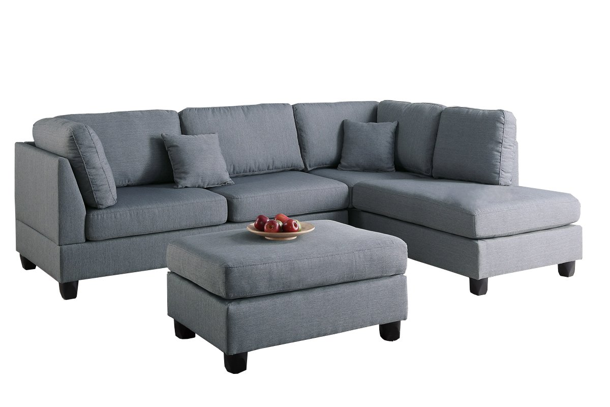 Poundex PDEX-F7606 Upholstered Sofas/Sectionals/Armchairs, Grey by Poundex