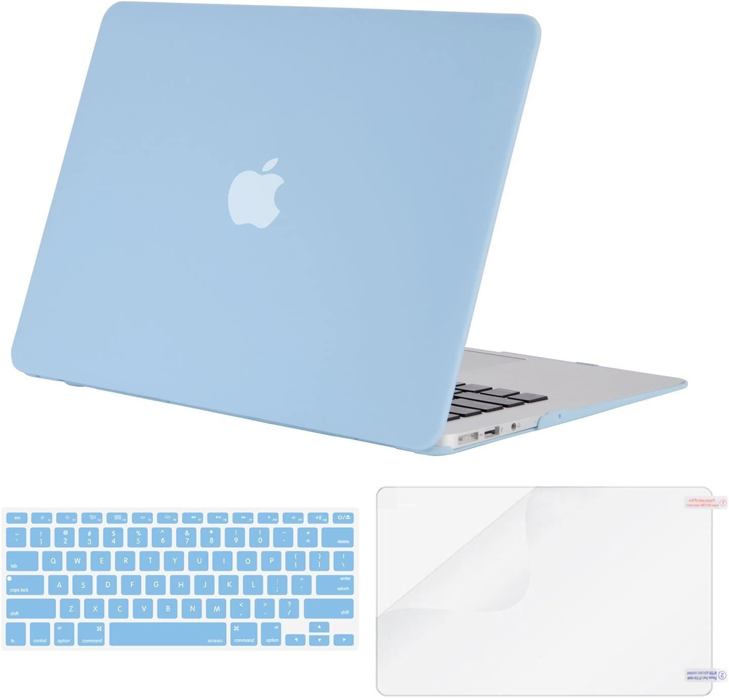 MOSISO Plastic Hard Shell Case & Keyboard Cover & Screen Protector Only Compatible with MacBook Air 13 inch (Models: A1369 & A1466, Older Version 2010-2017 Release), Airy Blue