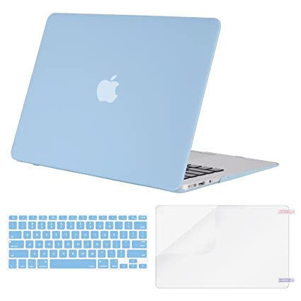 newest 5a04b 4721f MOSISO Plastic Hard Shell Case & Keyboard Cover & Screen Protector  Compatible MacBook Air 11 Inch (Models: A1370 & A1465), Airy Blue