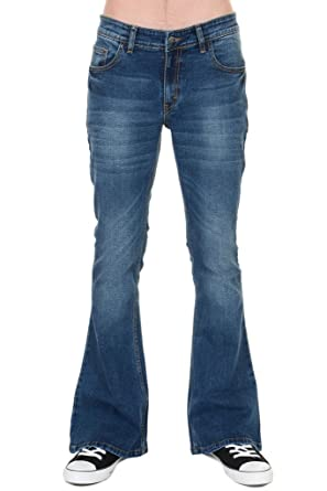 e46be001ec5 Run and Fly Mens 70s Retro Distress Vintage Stretch Denim Bell Bottom  Flares Blue Distress 30