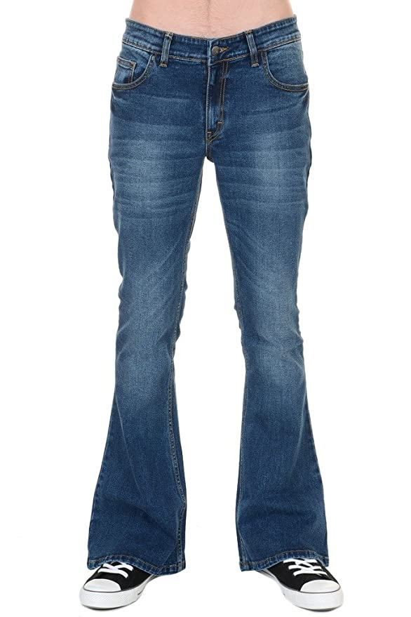 1f3f92970f8 Run   Fly Mens 70s Retro Distress Vintage Stretch Denim Bell Bottom Flares  at Amazon Men s Clothing store