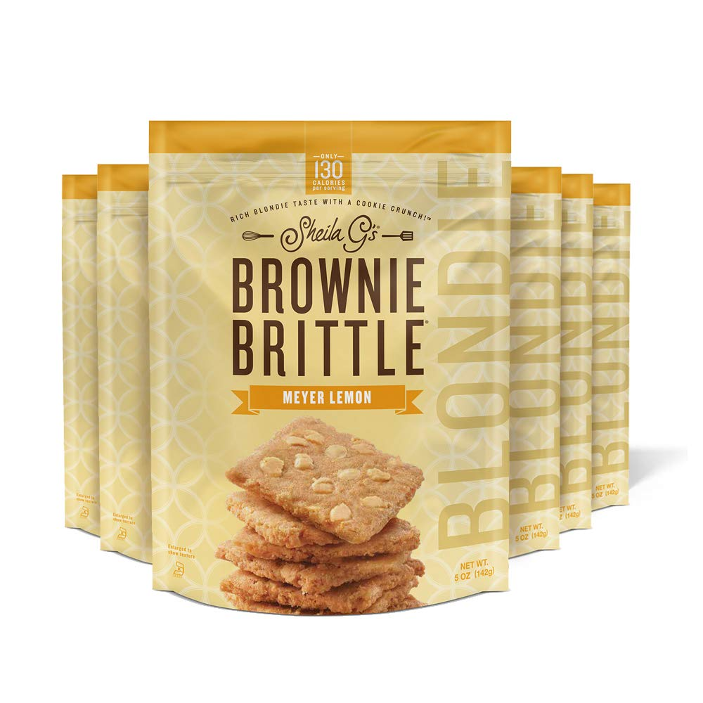Sheila G's Brownie Brittle BLONDIE Meyer Lemon- Low Calorie, Healthy Thin Sweet Crispy Snack-Rich Blondie Taste with a Cookie Crunch- 5oz, Pack of 6