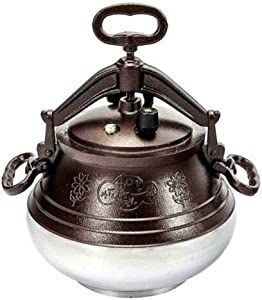 CKG Afghan Kazan Pressure Cooker Heavy Duty Uzbeki Tatar Казан Plov Pot Kitchenware - Dual Handles Cookware - Camping Travel Stove - Cooking Gifts – Multicolor (10L/10.5 Quarts)